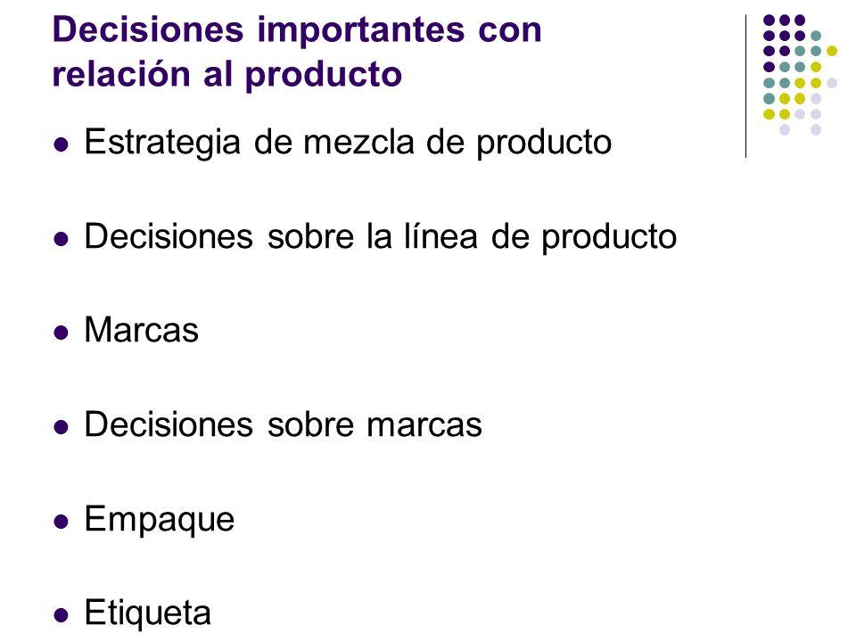 Decisiones importantes con relación al producto