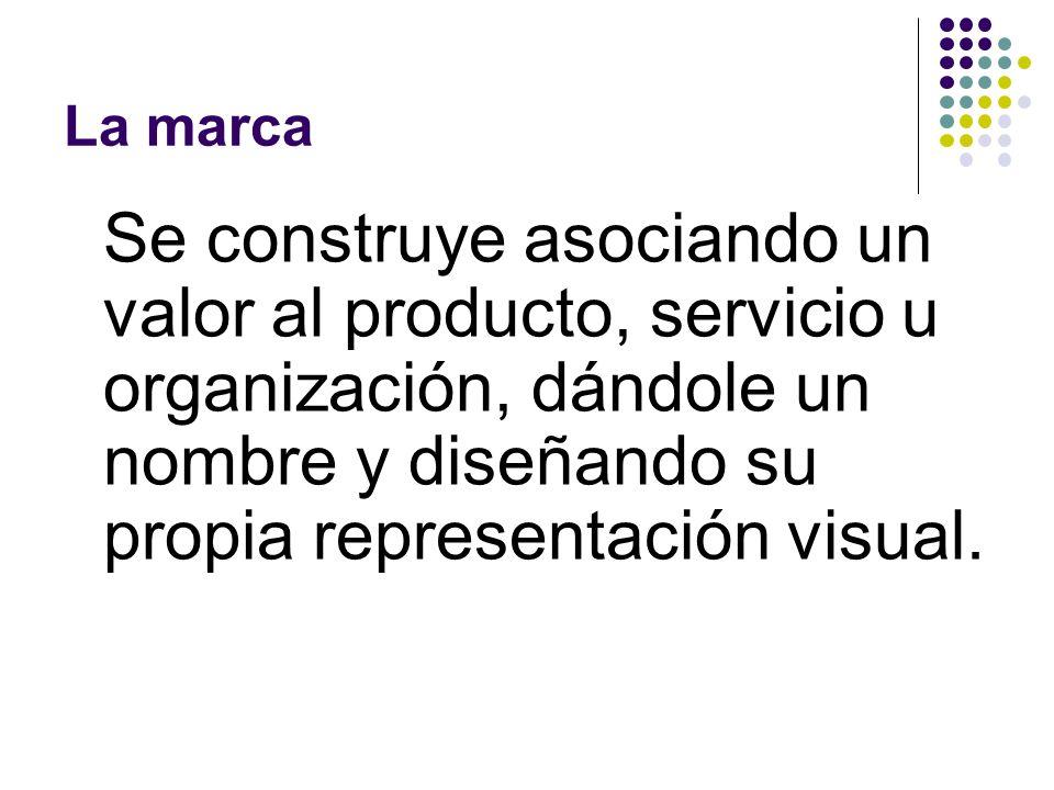 La marcaSe construye asociando un valor al producto, servicio u organización, dándole un nombre y diseñando su propia representación visual.