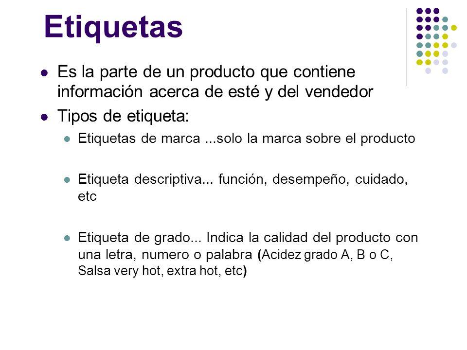 Etiquetas Es la parte de un producto que contiene información acerca de esté y del vendedor. Tipos de etiqueta: