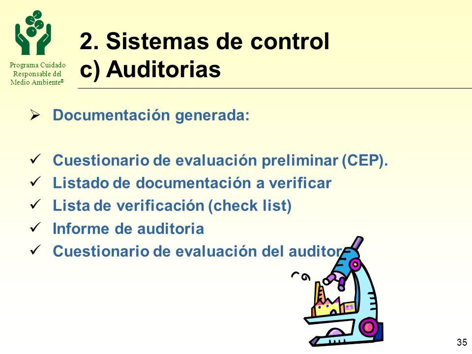 2. Sistemas de control c) Auditorias