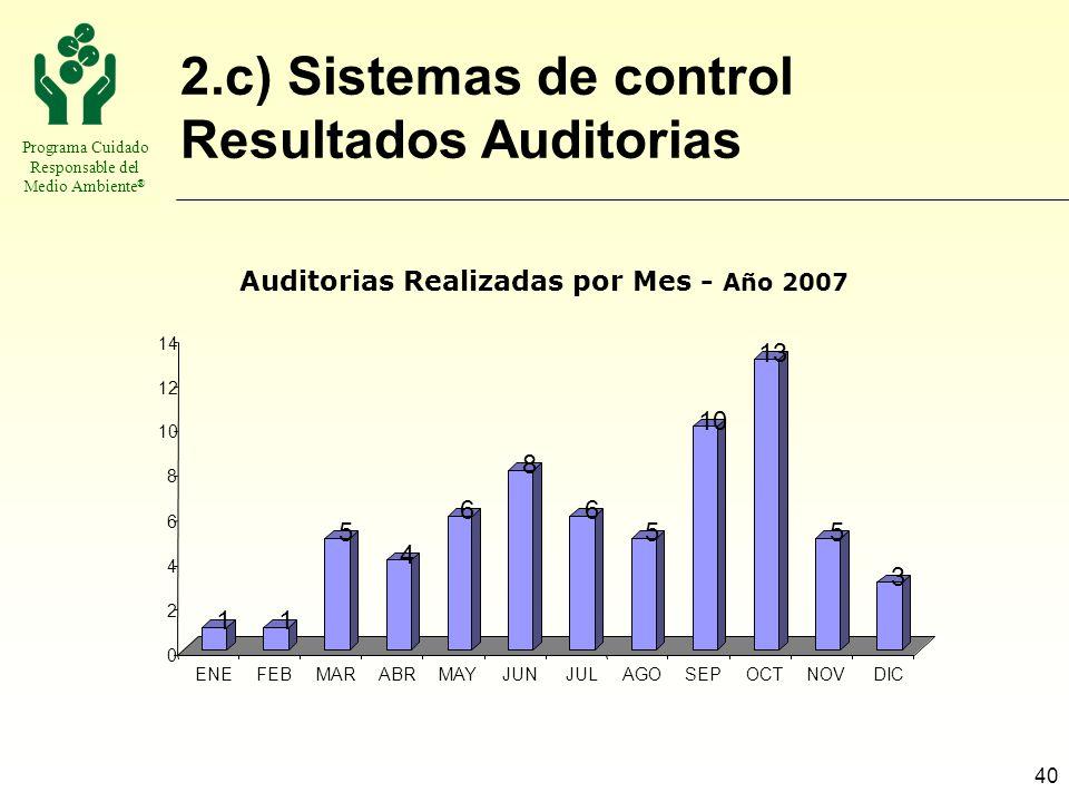 Auditorias Realizadas por Mes - Año 2007