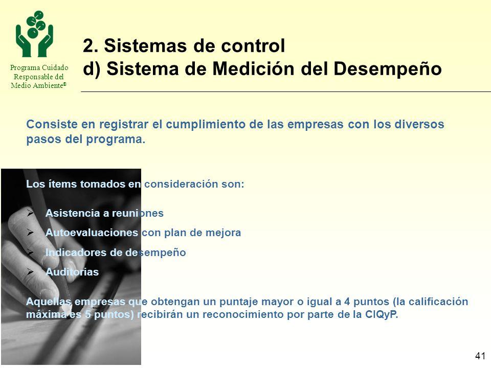 2. Sistemas de control d) Sistema de Medición del Desempeño