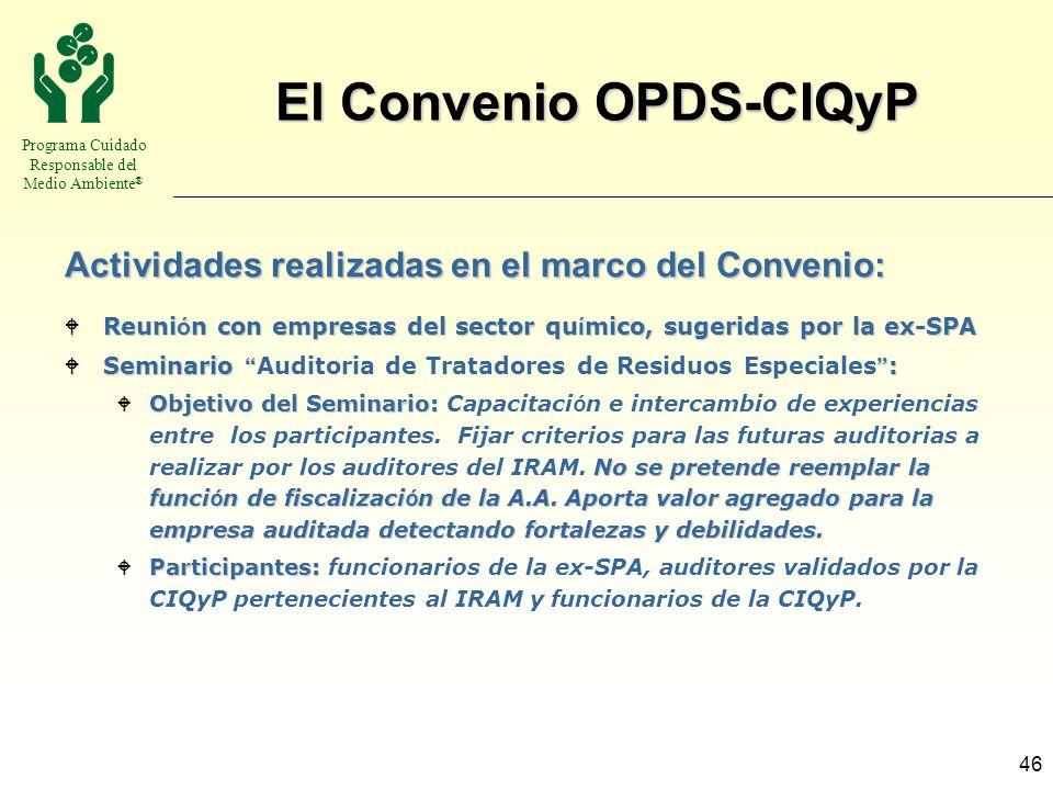 El Convenio OPDS-CIQyP