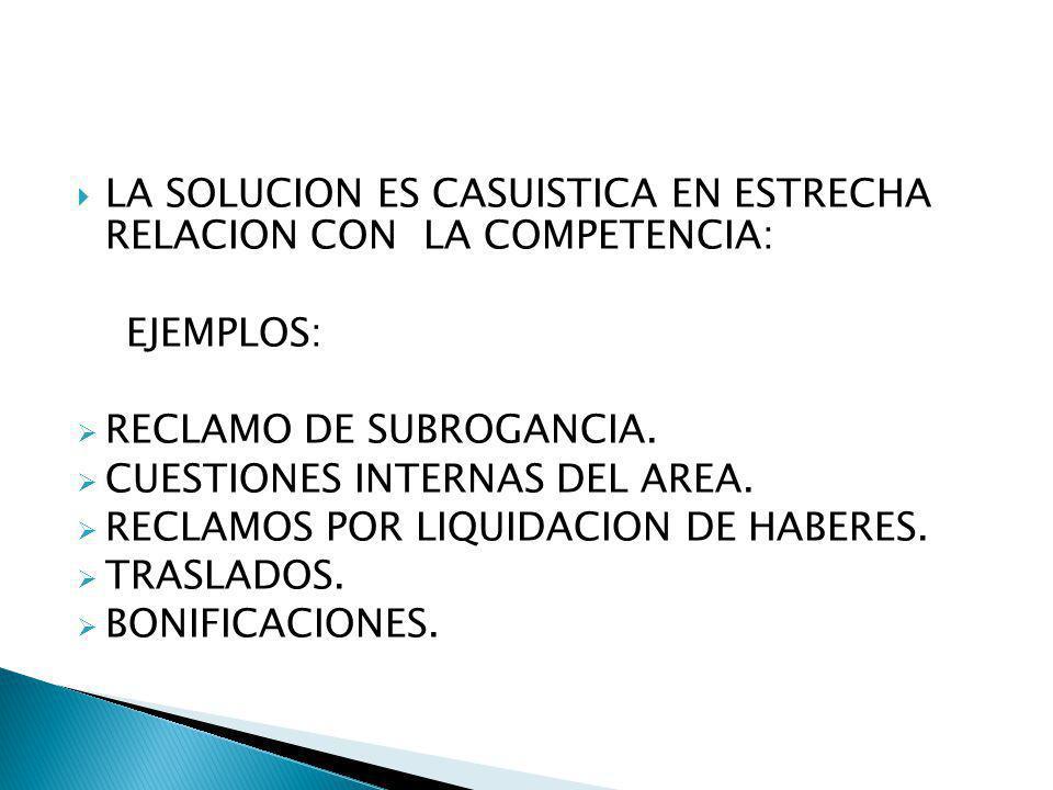 LA SOLUCION ES CASUISTICA EN ESTRECHA RELACION CON LA COMPETENCIA:
