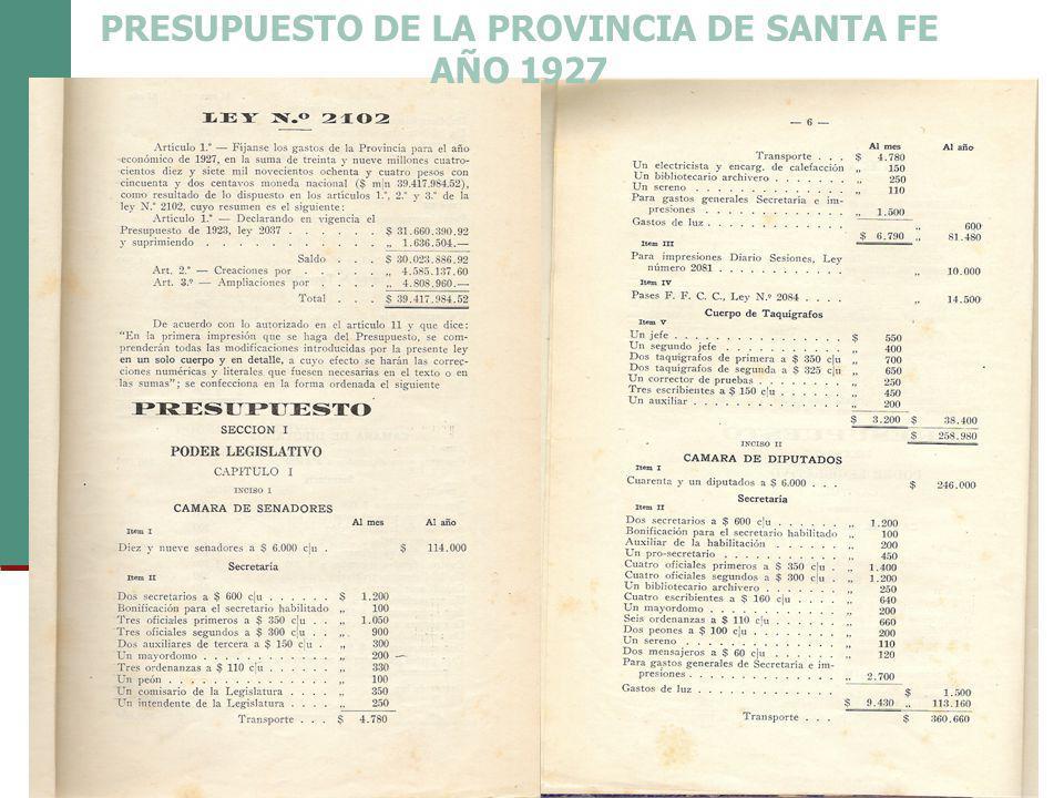 PRESUPUESTO DE LA PROVINCIA DE SANTA FE AÑO 1927