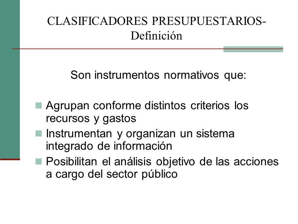 CLASIFICADORES PRESUPUESTARIOS- Definición