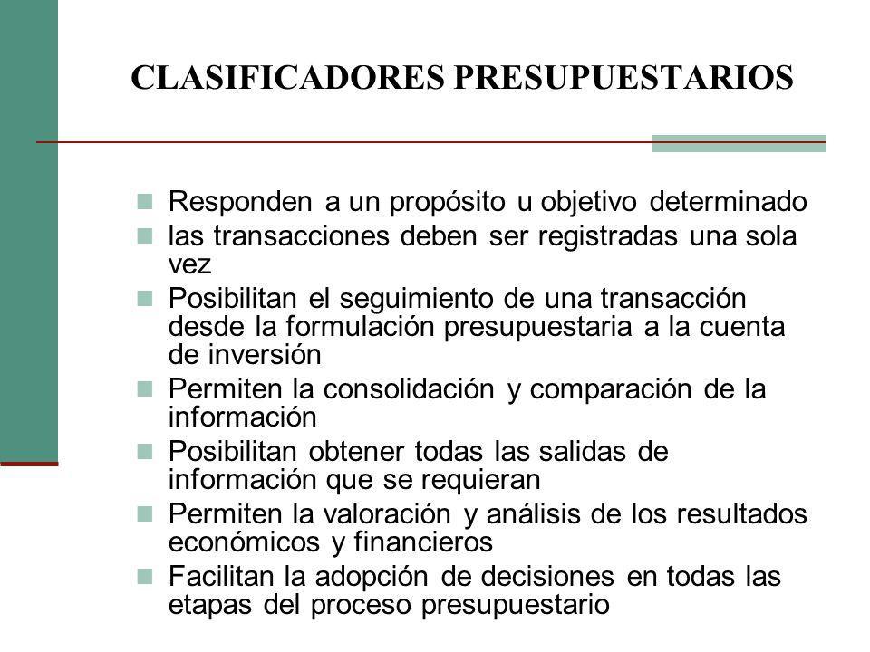 CLASIFICADORES PRESUPUESTARIOS