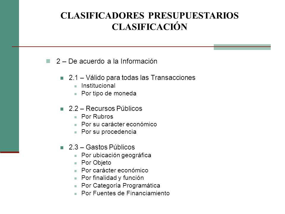 CLASIFICADORES PRESUPUESTARIOS CLASIFICACIÓN