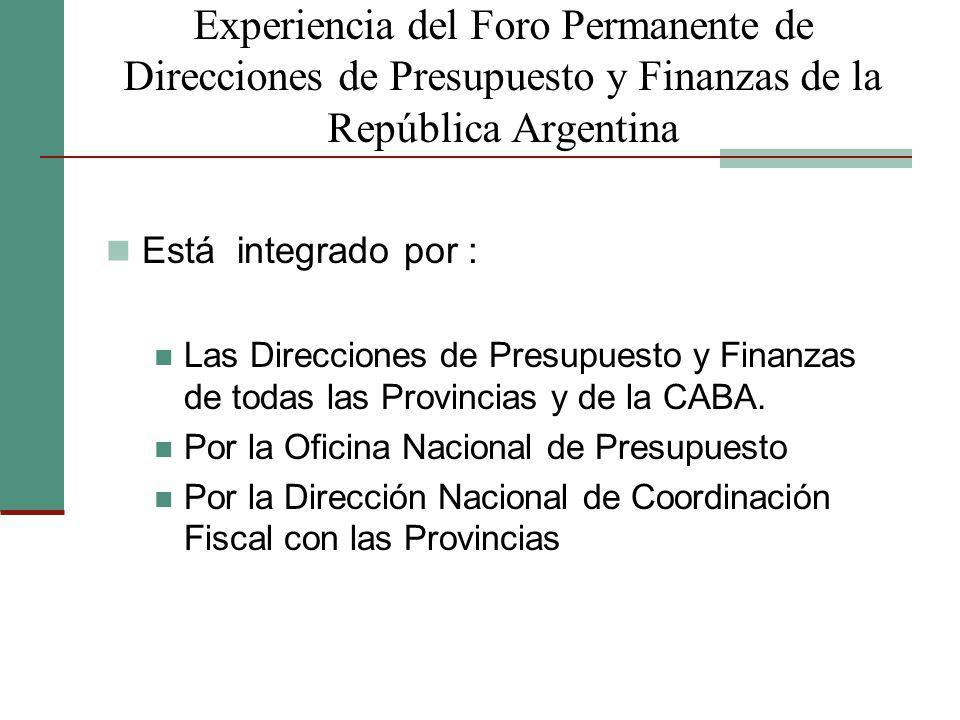 Experiencia del Foro Permanente de Direcciones de Presupuesto y Finanzas de la República Argentina