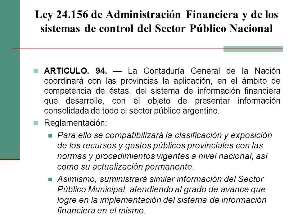 Ley 24.156 de Administración Financiera y de los sistemas de control del Sector Público Nacional