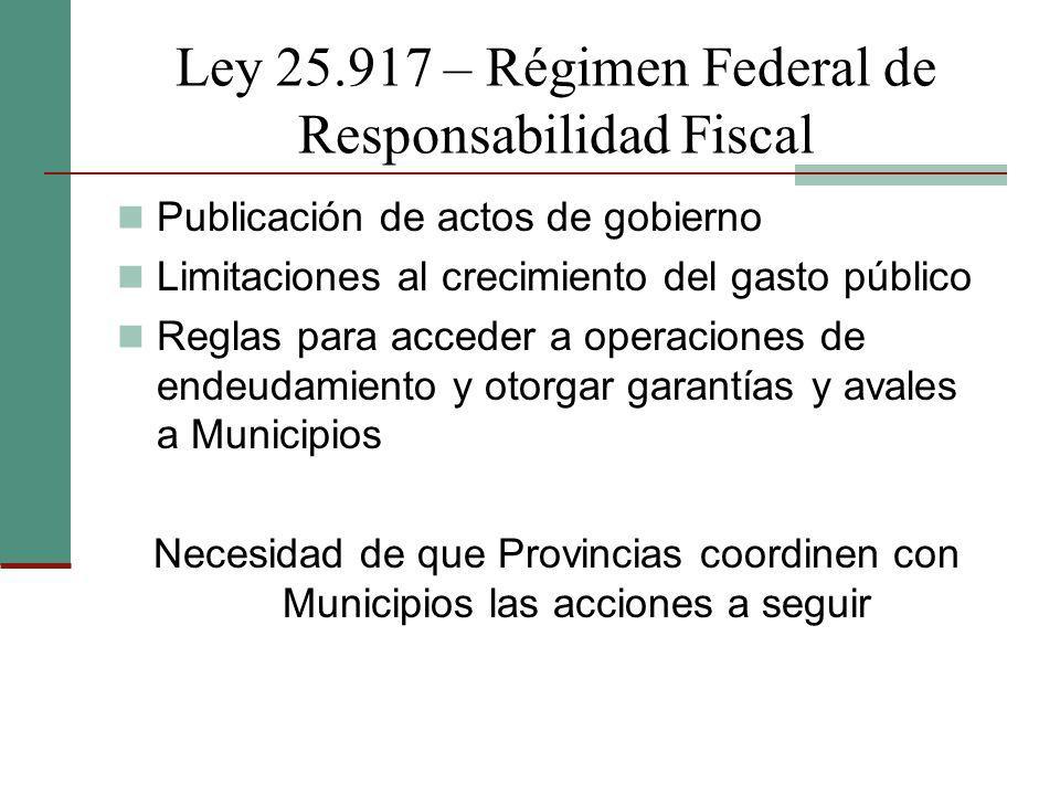 Ley 25.917 – Régimen Federal de Responsabilidad Fiscal