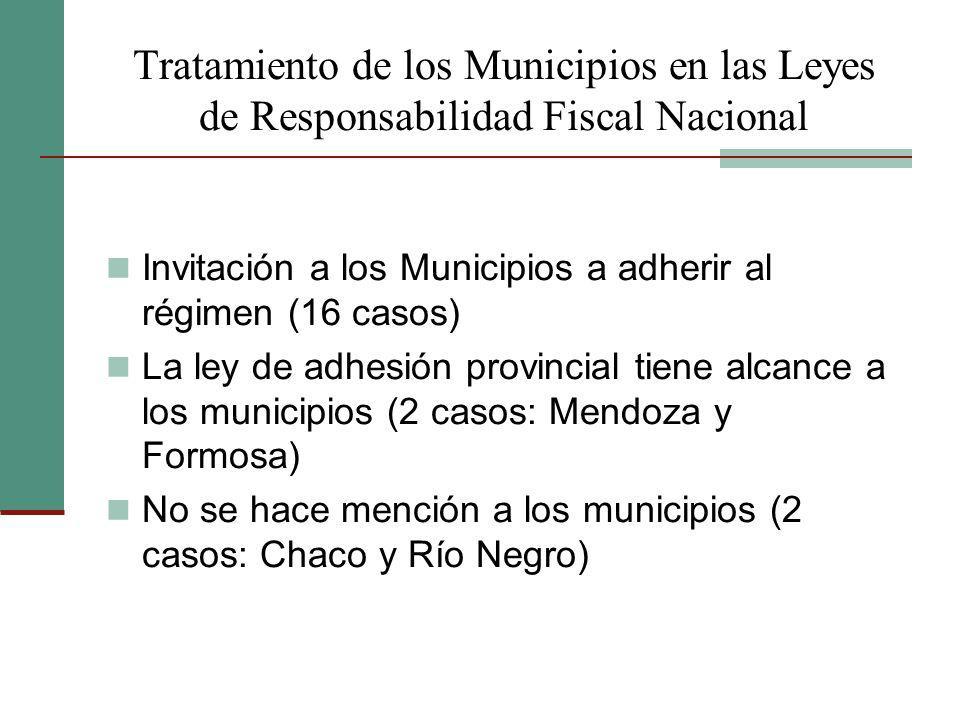 Tratamiento de los Municipios en las Leyes de Responsabilidad Fiscal Nacional