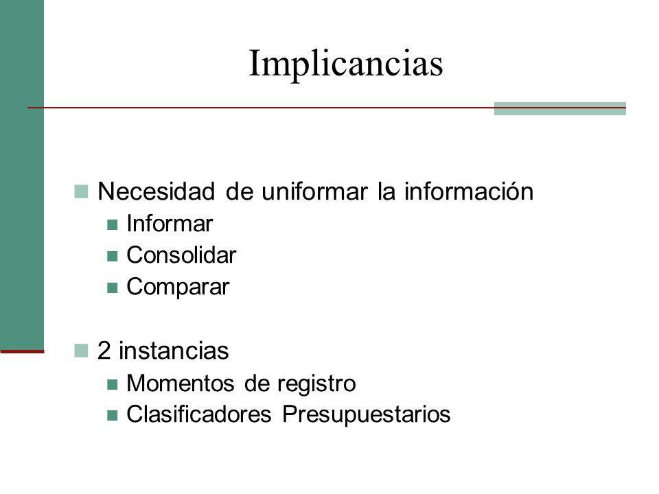 Implicancias Necesidad de uniformar la información 2 instancias