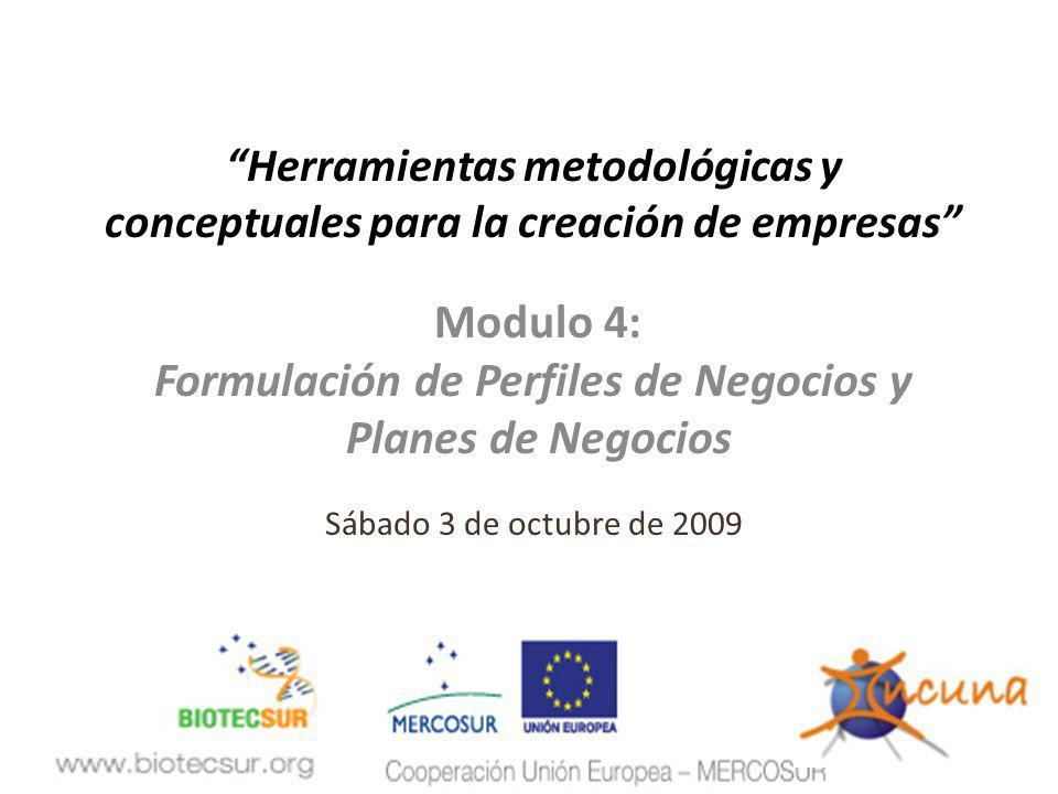 Herramientas metodológicas y Formulación de Perfiles de Negocios y