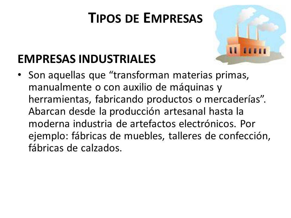 Tipos de Empresas EMPRESAS INDUSTRIALES