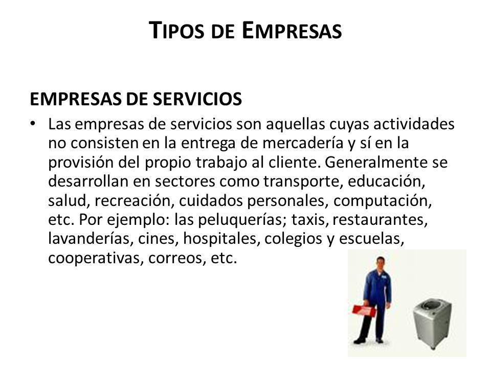 Tipos de Empresas EMPRESAS DE SERVICIOS