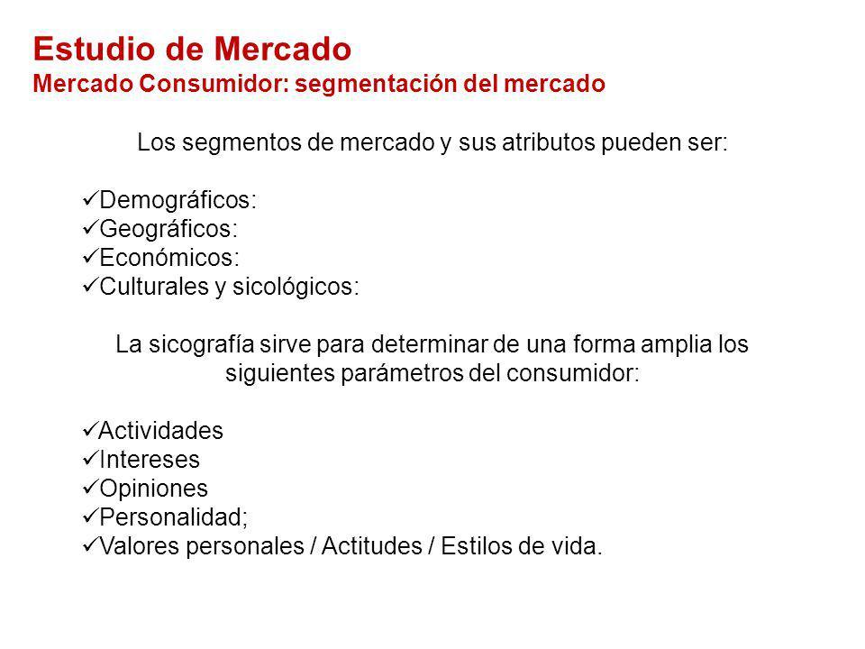 Los segmentos de mercado y sus atributos pueden ser:
