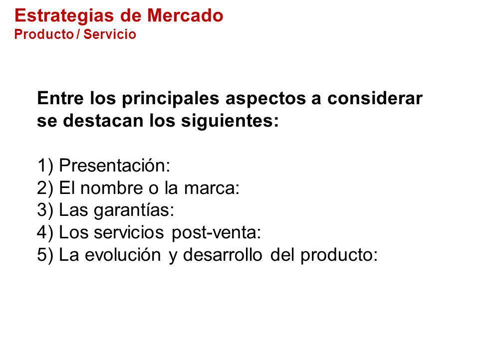 Estrategias de Mercado Producto / Servicio