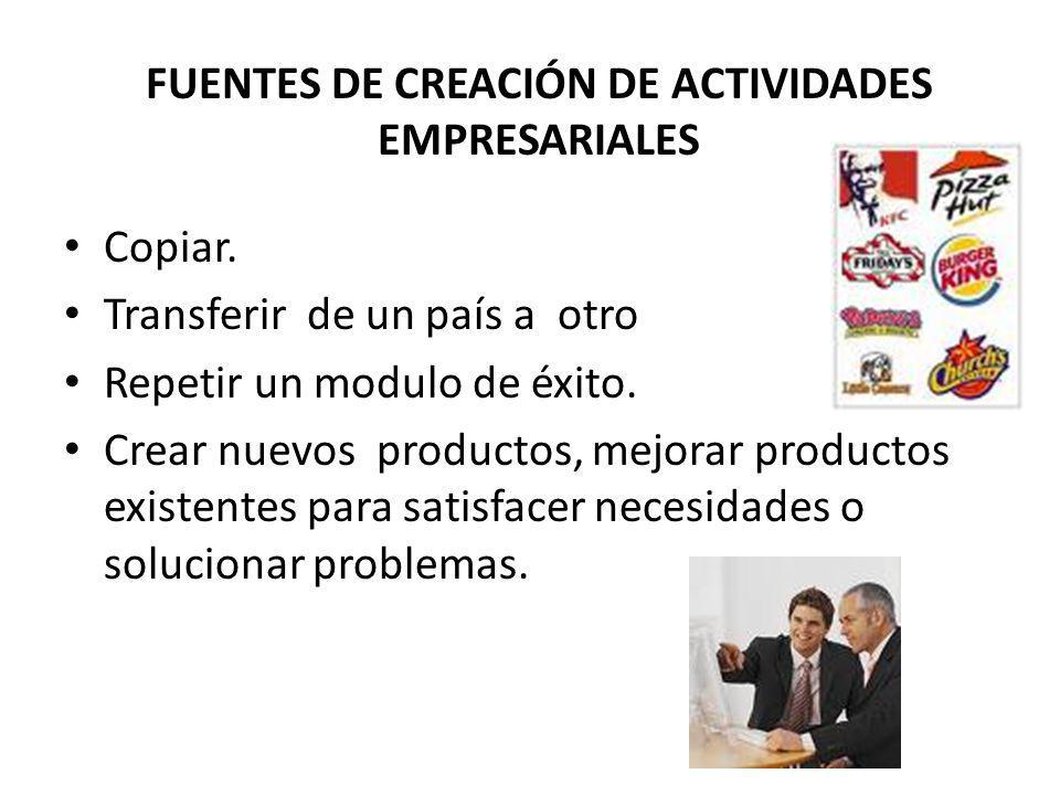 FUENTES DE CREACIÓN DE ACTIVIDADES EMPRESARIALES