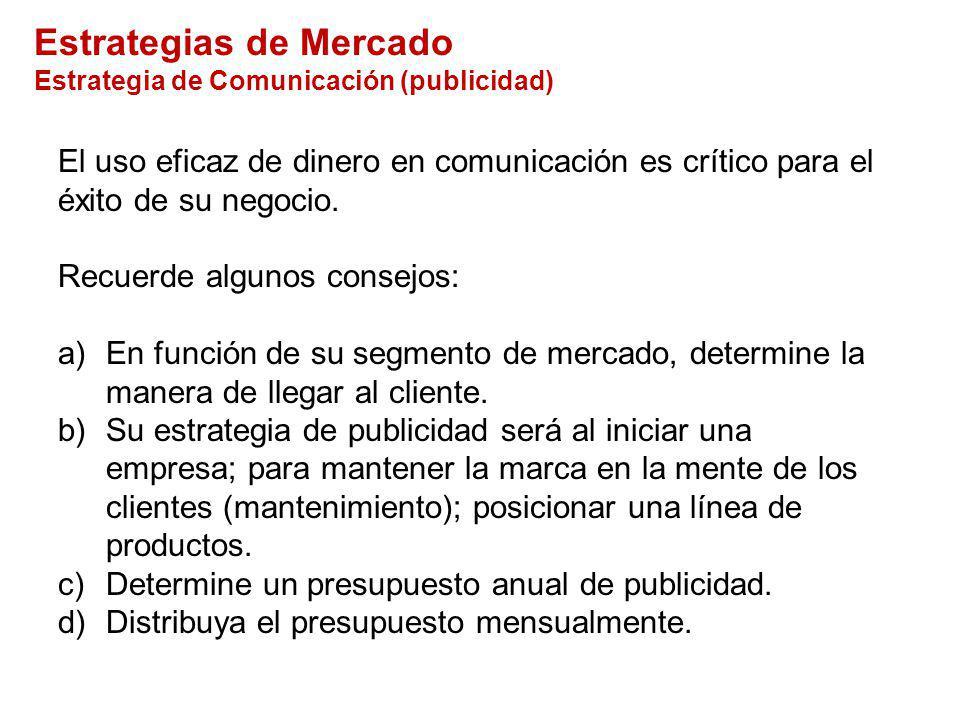 Estrategias de Mercado Estrategia de Comunicación (publicidad)