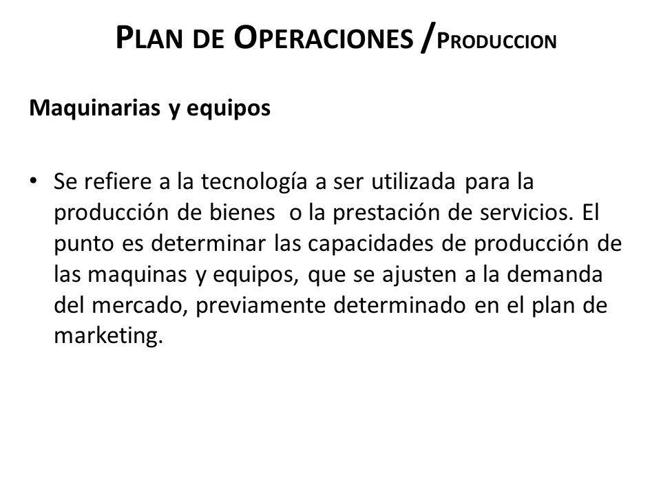 Plan de Operaciones /Produccion