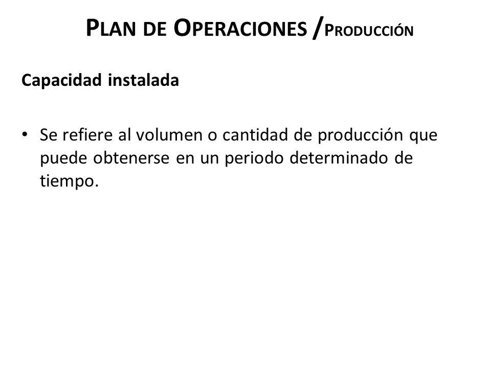 Plan de Operaciones /Producción
