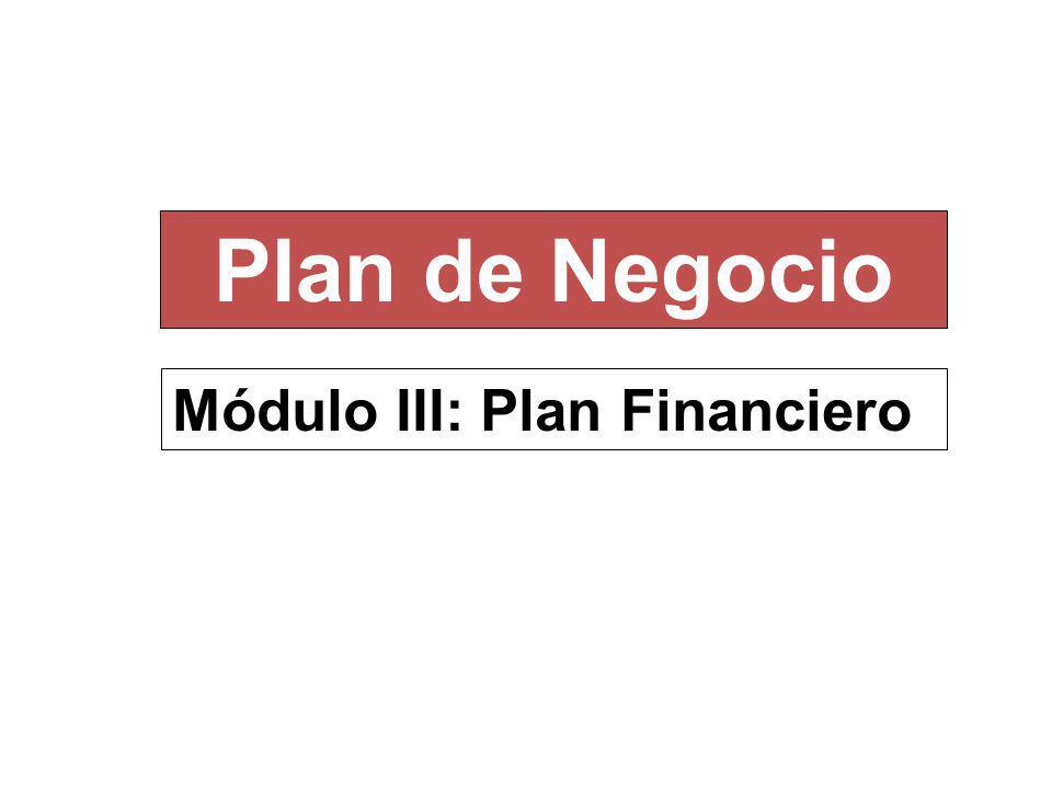 Plan de Negocio Módulo III: Plan Financiero