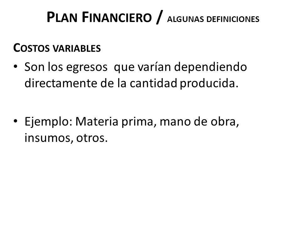 Plan Financiero / ALGUNAS DEFINICIONES