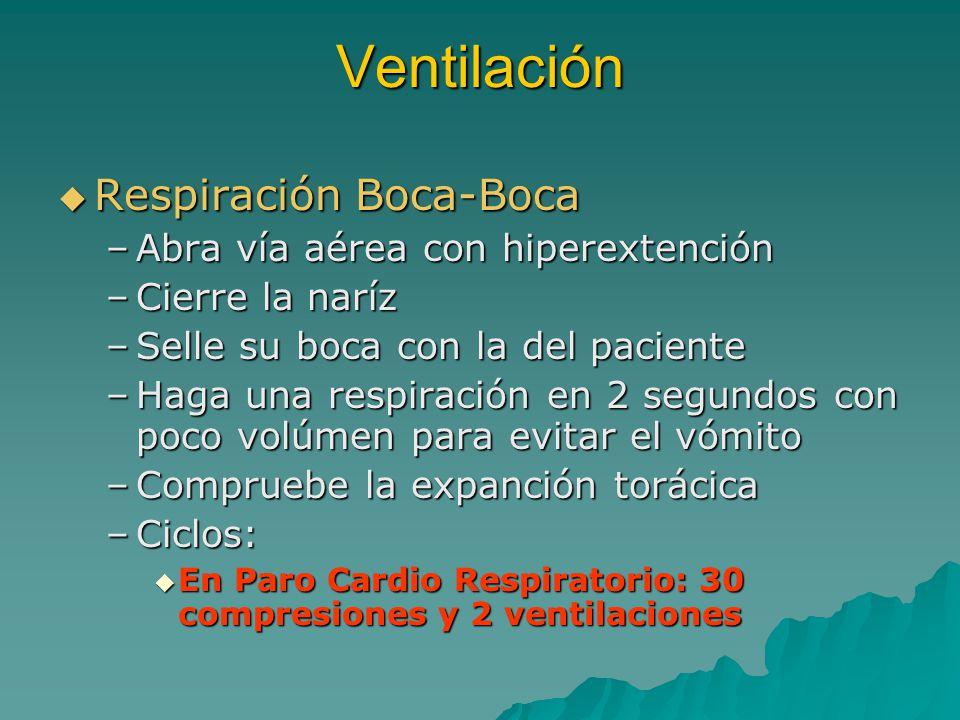 Ventilación Respiración Boca-Boca Abra vía aérea con hiperextención