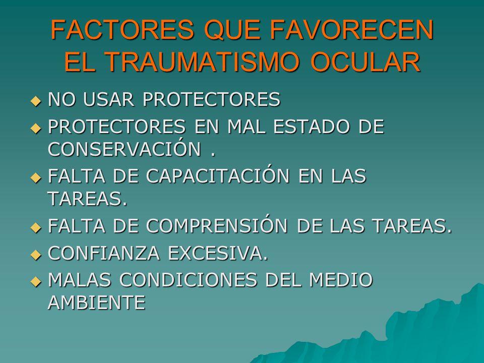 FACTORES QUE FAVORECEN EL TRAUMATISMO OCULAR