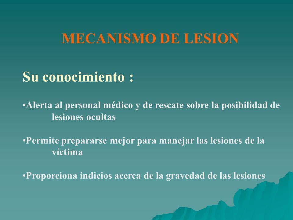 Su conocimiento : MECANISMO DE LESION