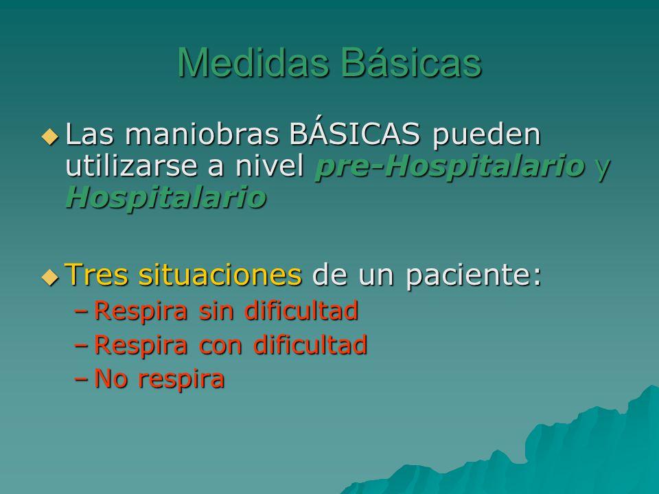 Medidas Básicas Las maniobras BÁSICAS pueden utilizarse a nivel pre-Hospitalario y Hospitalario. Tres situaciones de un paciente: