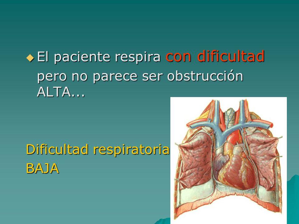 El paciente respira con dificultad
