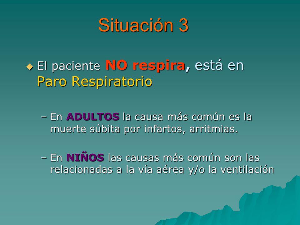 Situación 3 El paciente NO respira, está en Paro Respiratorio