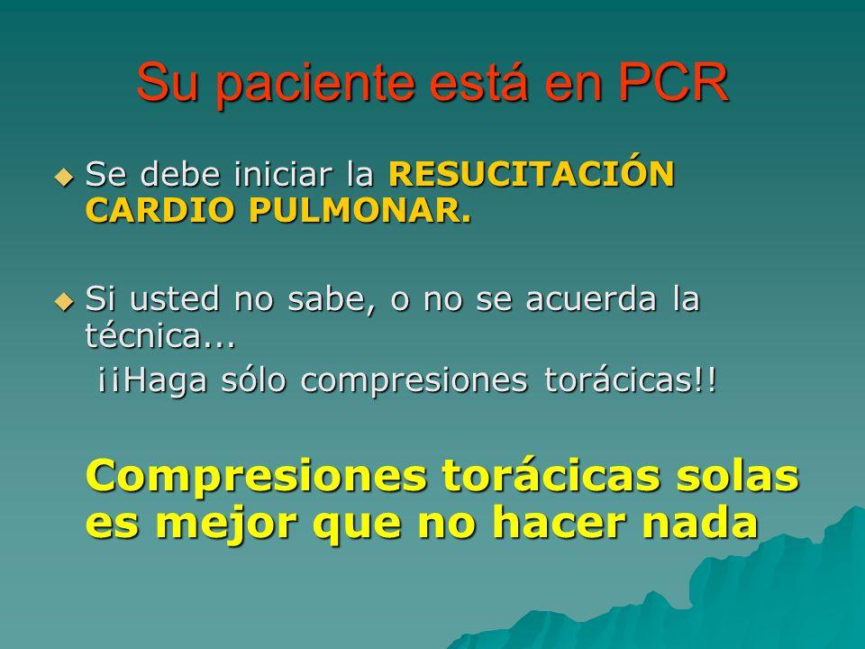 Su paciente está en PCR Se debe iniciar la RESUCITACIÓN CARDIO PULMONAR. Si usted no sabe, o no se acuerda la técnica...