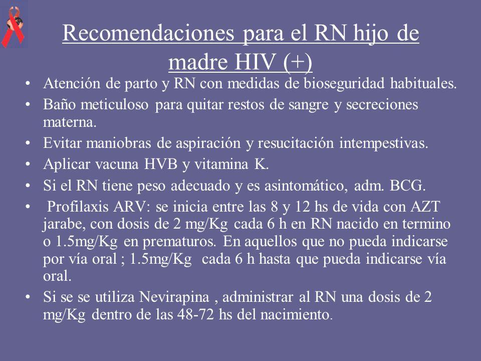 Recomendaciones para el RN hijo de madre HIV (+)