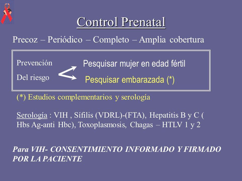 Control Prenatal Precoz – Periódico – Completo – Amplia cobertura