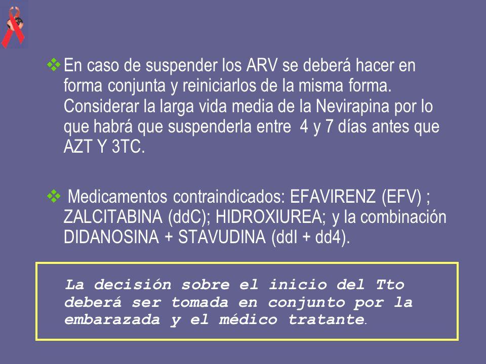 En caso de suspender los ARV se deberá hacer en forma conjunta y reiniciarlos de la misma forma. Considerar la larga vida media de la Nevirapina por lo que habrá que suspenderla entre 4 y 7 días antes que AZT Y 3TC.