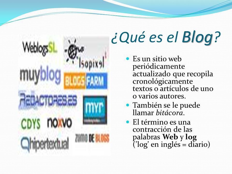 ¿Qué es el Blog Es un sitio web periódicamente actualizado que recopila cronológicamente textos o artículos de uno o varios autores.