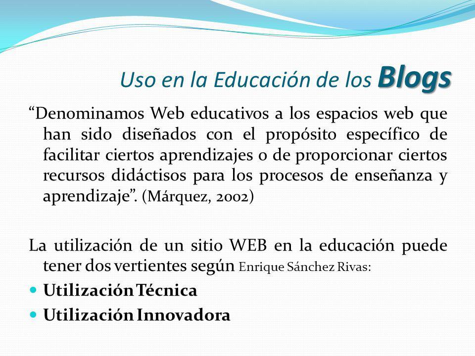 Uso en la Educación de los Blogs