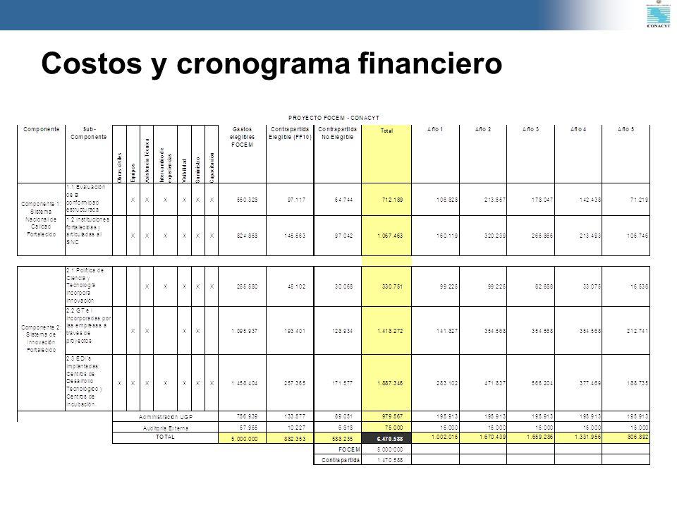 Costos y cronograma financiero