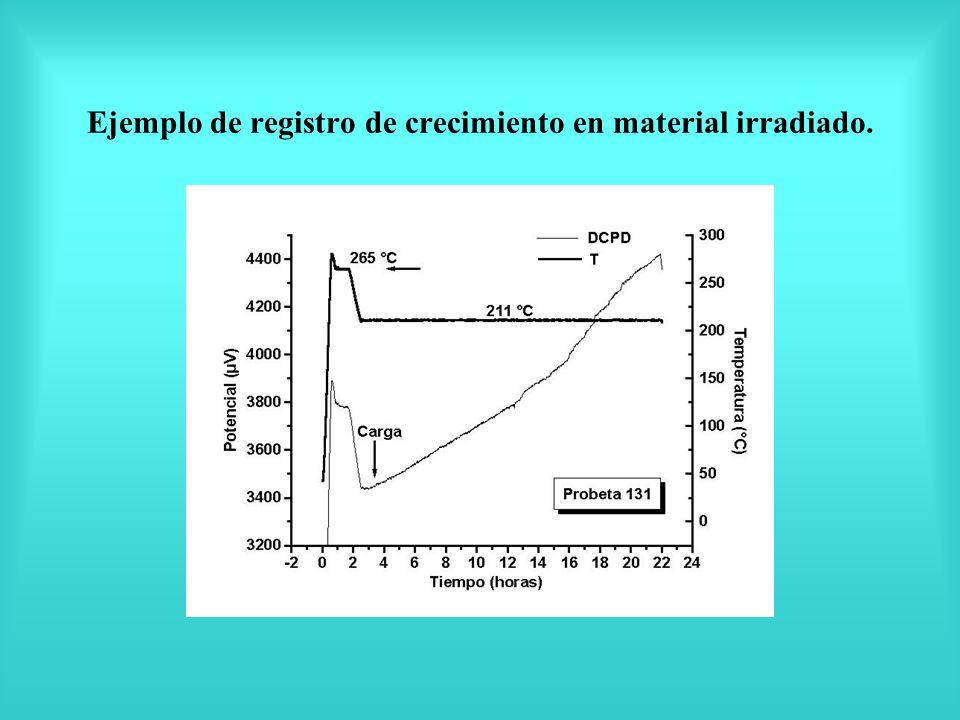 Ejemplo de registro de crecimiento en material irradiado.