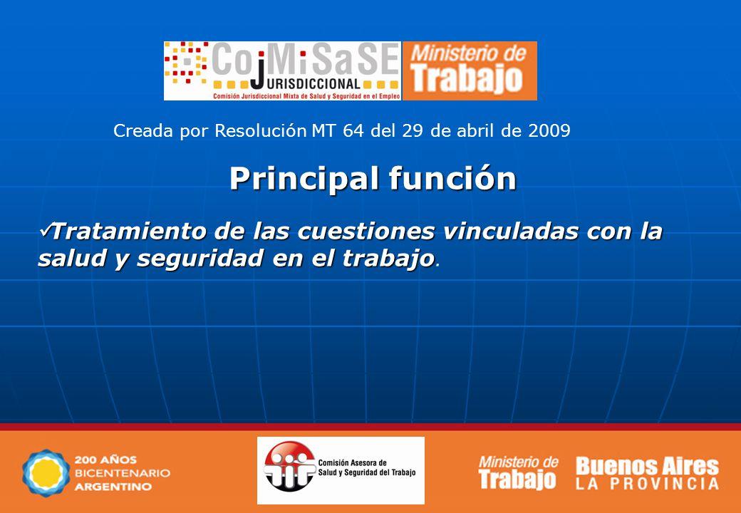Principal función Tratamiento de las cuestiones vinculadas con la salud y seguridad en el trabajo.