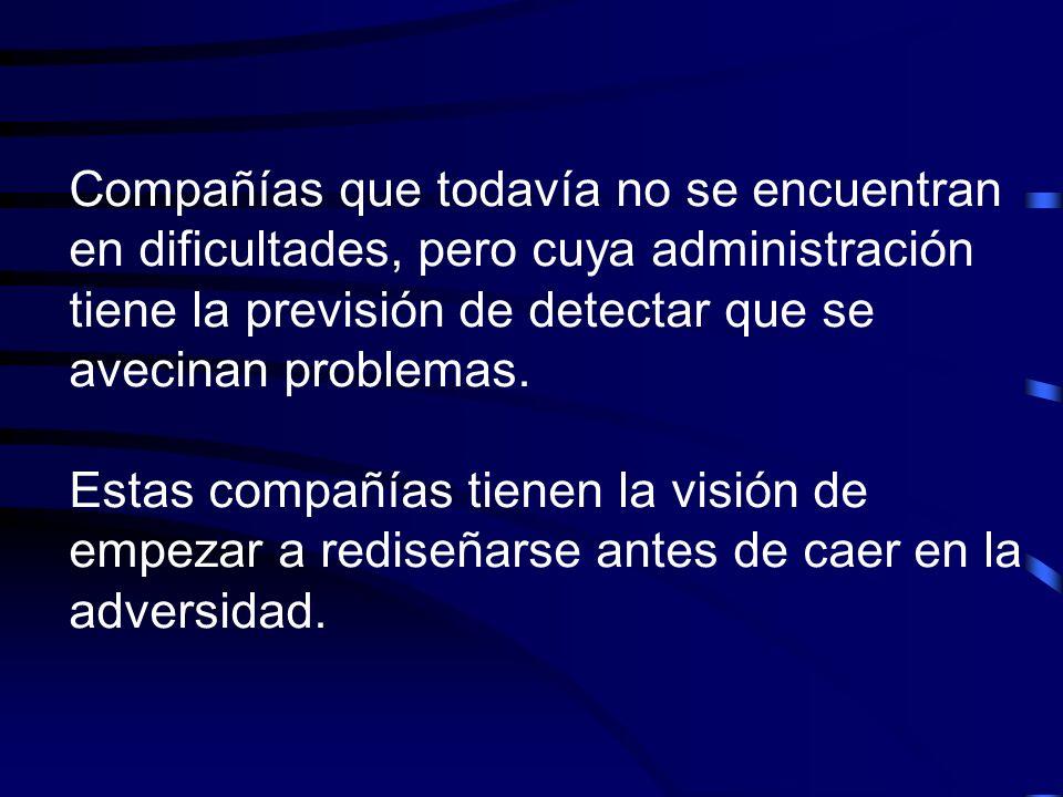 Compañías que todavía no se encuentran en dificultades, pero cuya administración tiene la previsión de detectar que se avecinan problemas.