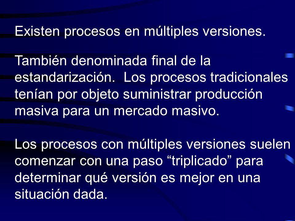 Existen procesos en múltiples versiones.