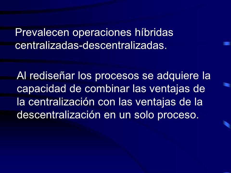 Prevalecen operaciones híbridas centralizadas-descentralizadas.