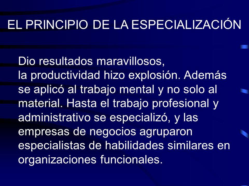 EL PRINCIPIO DE LA ESPECIALIZACIÓN