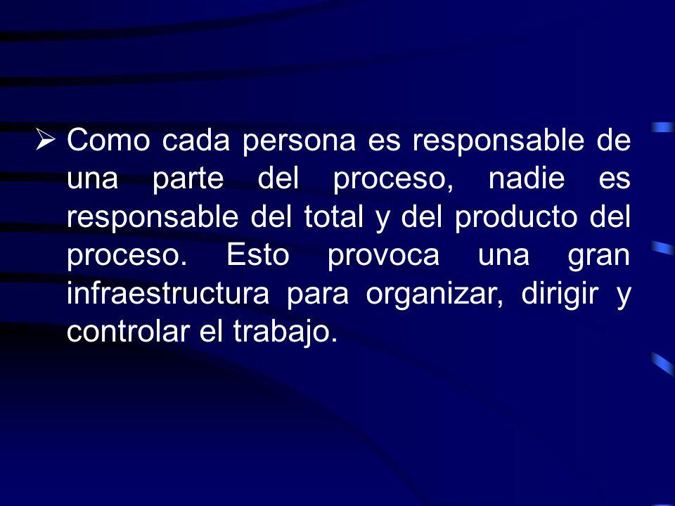 Como cada persona es responsable de una parte del proceso, nadie es responsable del total y del producto del proceso.