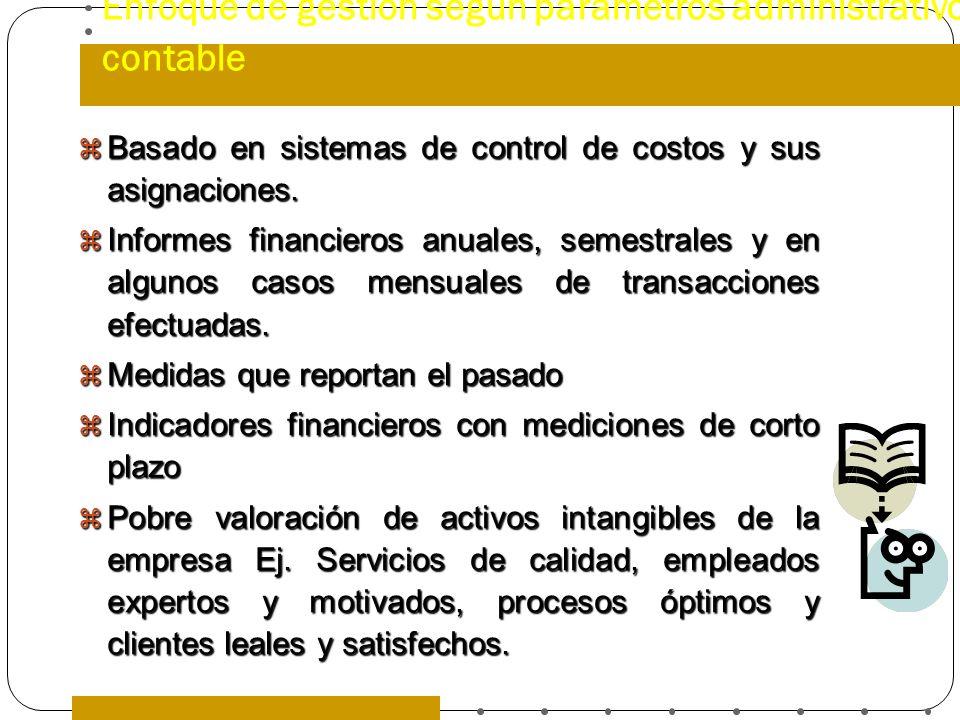 Enfoque de gestión según parámetros administrativo contable