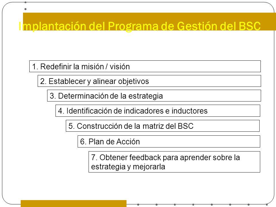 Implantación del Programa de Gestión del BSC